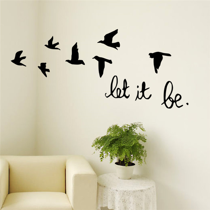 new arrival black flying birds wall sticker for kids rooms decals poster wallpaper 8547 living. Black Bedroom Furniture Sets. Home Design Ideas
