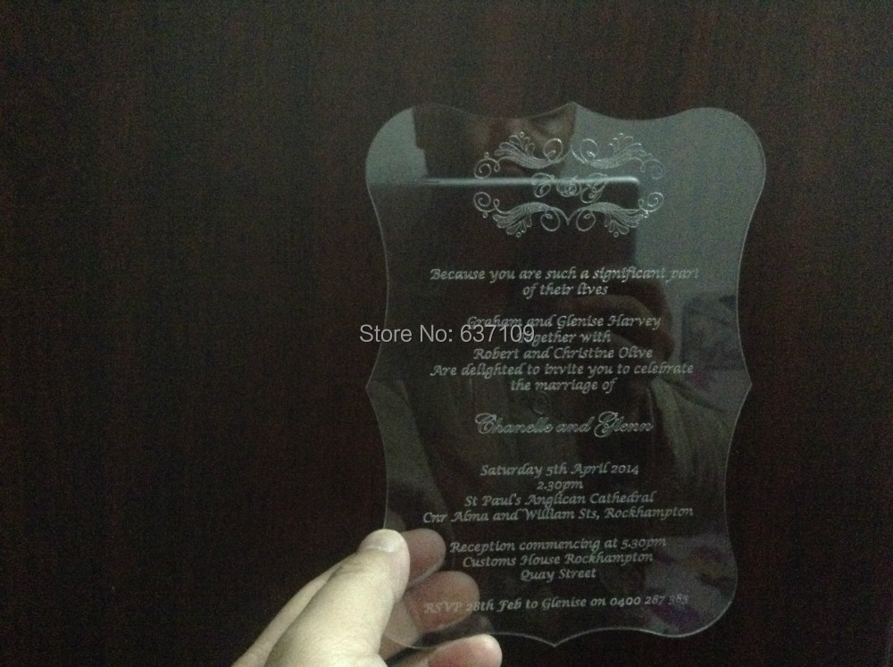 Sample order for 5*7inch Clear acrylic wedding invitation card scroll shape laser engraving letters(China (Mainland))