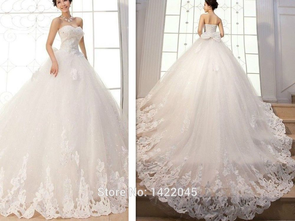 New Appliques Ball Gown Elegant Wedding Dresses Bridal Gowns Custom Long Tail(China (Mainland))