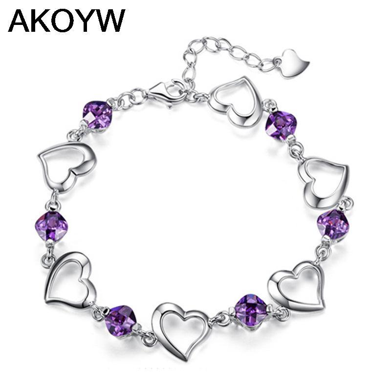 Silver plated bracelet female models hearts love cute little wild fashion jewelry super flash retro jewelry amethyst 17.5CM(China (Mainland))