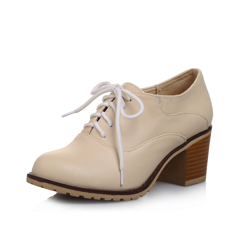 ARMOIRE 2015 Spring New Hot Fashion White Apricot Pink Women Nude Pumps Ladies Med Heels Shoes ALMS4 Plus Big Size 4 10 43