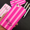 2016 Luxury Victoria Stripes Pink Phone Cases For iPhone 4 4s 5 5s Se 6 6s