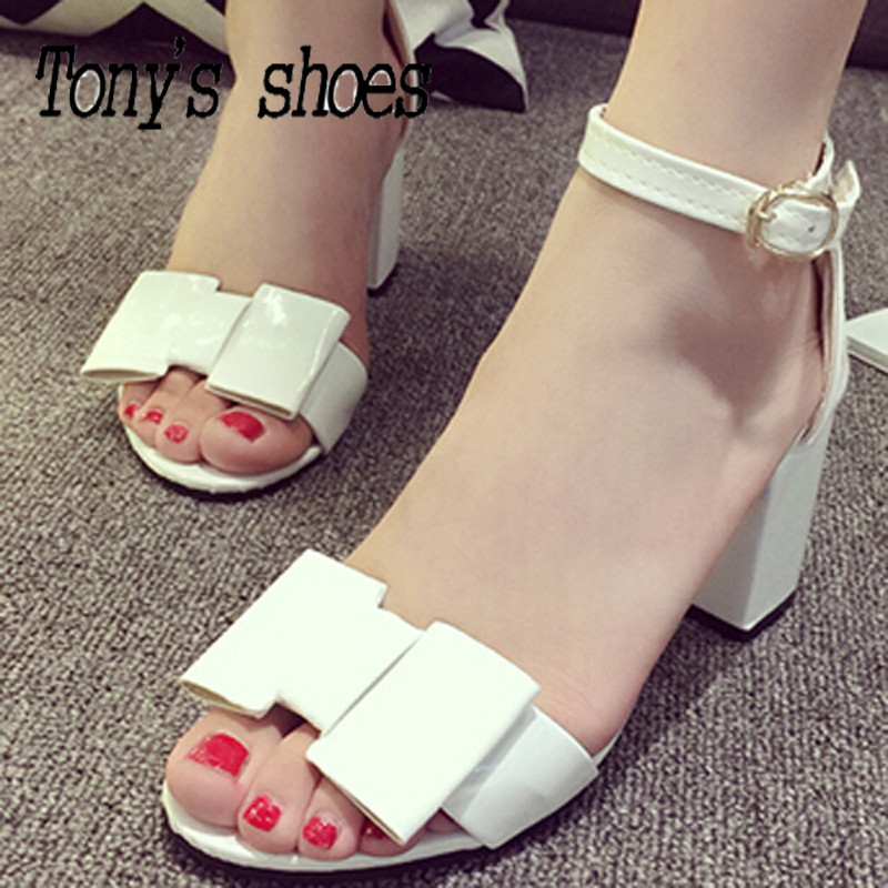 2015 Summer new PU Pumps fashion shoes women solid 3 color bowtie buckle mid-heeled thick heel open toe hasp female shoes 35-39(China (Mainland))