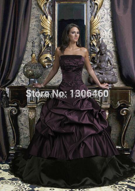 Purple Black Wedding Dress 2015 Ball Gown Princess Taffeta Strapless Bridal - Ice-Beauty145 store