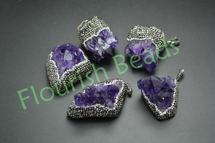 Natural drusy geode amethyst pendant 35~45mm one unique paved cz crystal beads side freeform jewelry - Flourish Beads store