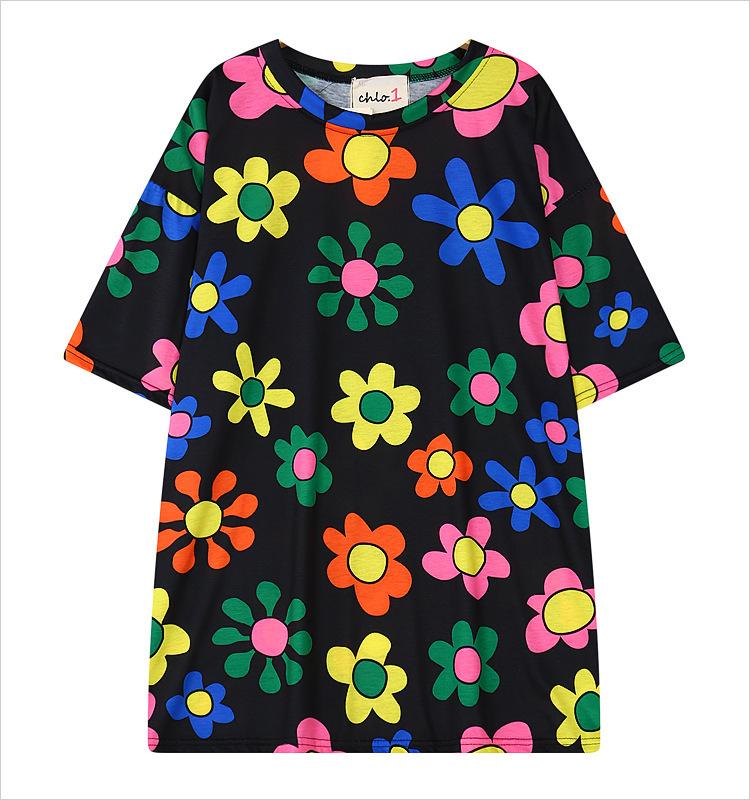 Flower printed tops for women harajuku o neck digital for Digital printed t shirts
