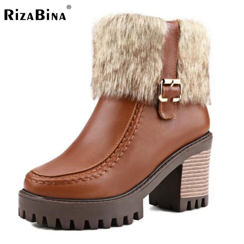 RizaBina Size32-45 Women Square High Heel Ankle Boots Ladies Sexy Platform Autumn Winter Boot Woman Brand Shoes Footwear