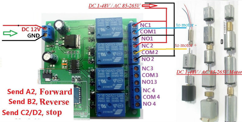 v ch bluetooth relay android mobile remote control switch for 4 dc 1 48v or ac 85 265v control circuit wiring diagram below note if not dc 12v load need another dc 12v power supply load be led lights fans