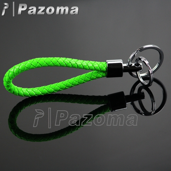 PAZOMA Free Shipping GREEN COLOR FOR Charm Fashion Cute Charm Ring Keyfob Gift PU Leather Strap Lovely Keyring HOT