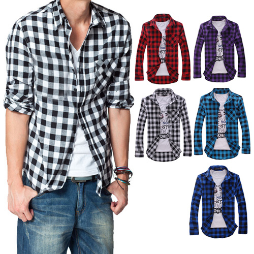 2016 Men s Cotton Turn down Collar font b Plaid b font Double Beasted Full Sleeves