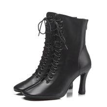 Prova Perfetto Stiefeletten Für Frauen Winter Schuhe High Heels Stiefel Echt Leder Botas Kreuz-gebunden Karree Stiefel damen Schuhe(China)