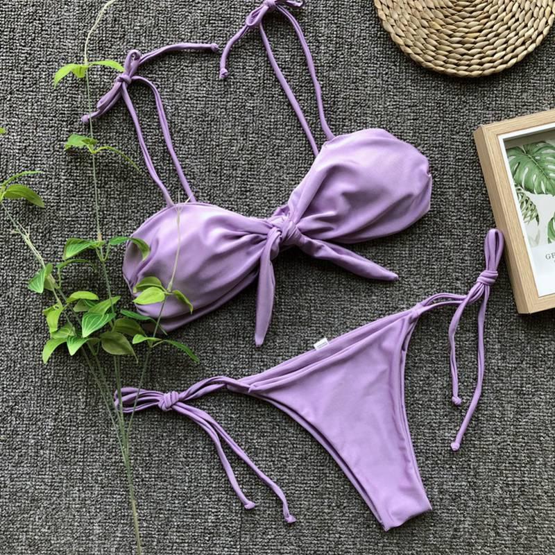 Женский сексуальный фиолетовый бантик бикини на завязках Монокини завязки микро PA0305Z(4)