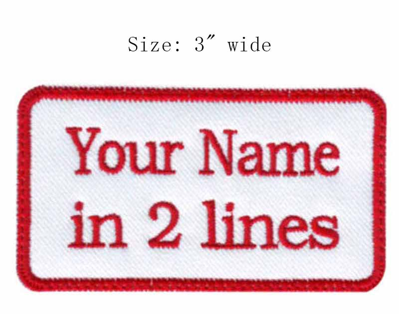 """Red rectangular custom name 3"""" wide*prop high motorcycle/army patch/tactical patches velcro/army badges(China (Mainland))"""