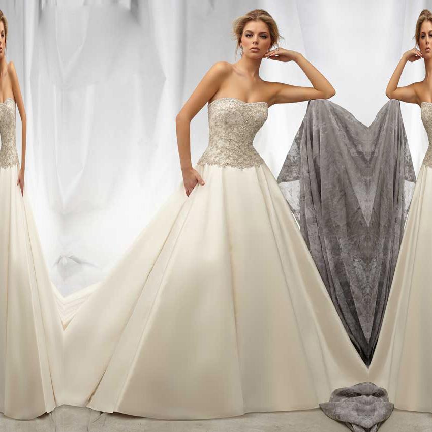 2015 floor length satin ball gown wedding dress bridal for Backless satin wedding dress