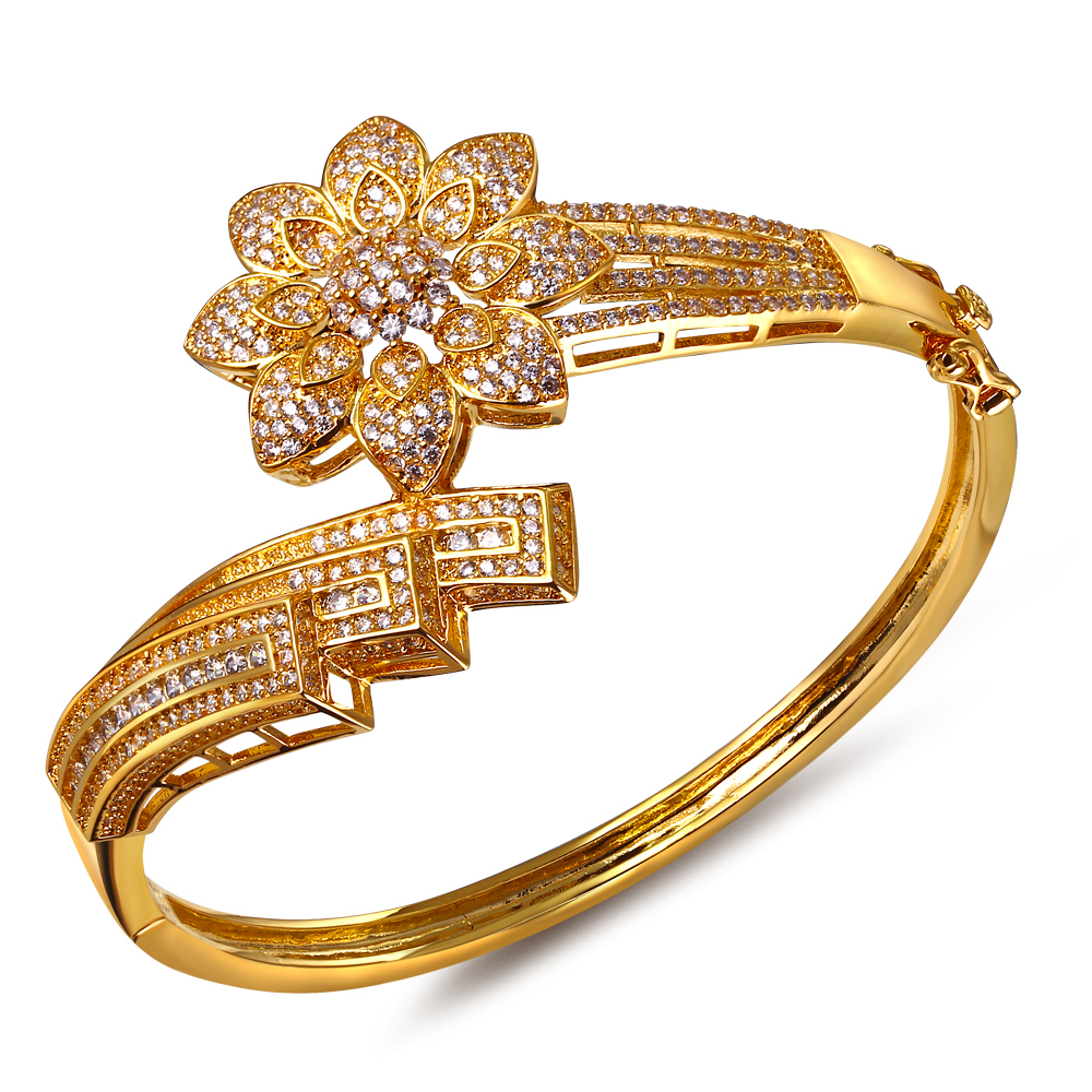 Summer African Look Cubic Zircon Deluxe Women Flower bracelets party Platinum Plated Bohemian Fashion Jewelry ladies bangles - Flowers rong's store