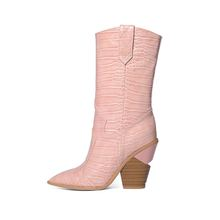 EUR Größe 34-44 Marke 2020 Neue Frauen Stiefel Winter Spitz High Heel Damen Schnee Stiefel Mode Kurze westlichen Mittlere Waden Stiefel(China)