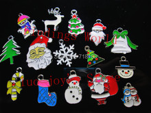 Promotions 40PCs Mixed Style Mixed Size Enamel Christmas Series Charms Pendants Jewelry Findings Free Shipping (LP00154)(China (Mainland))