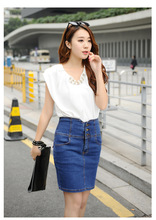 Buy Slim Jeans skirt fashion ladies Faldas High Waist Denim Skirts Sheds Tutu cheer pencil denim mini skirts Pockets Hip Cowgirl for $12.82 in AliExpress store