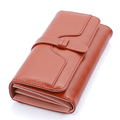 Large Capacity Ladies Wallet Retro Bunished Cowhide Korean Style Long Billfold Women Solid Color High Quality