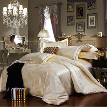 Discount Luxury Tribute Silk satin Jacquard Bedclothes  Bedding set Wedding Noble Palace Bed set Cotton bed linen QUEEN SIZE(China (Mainland))