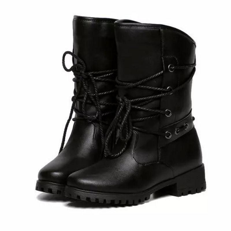 Dantel Up Kadınlar Kış Orta Yarım Çizmeler Kare Topuklu Çizmeler moda Casual Bayanlar Yuvarlak Toe Askeri Botlar Kadın Ayakkabı Boyutu 35-40