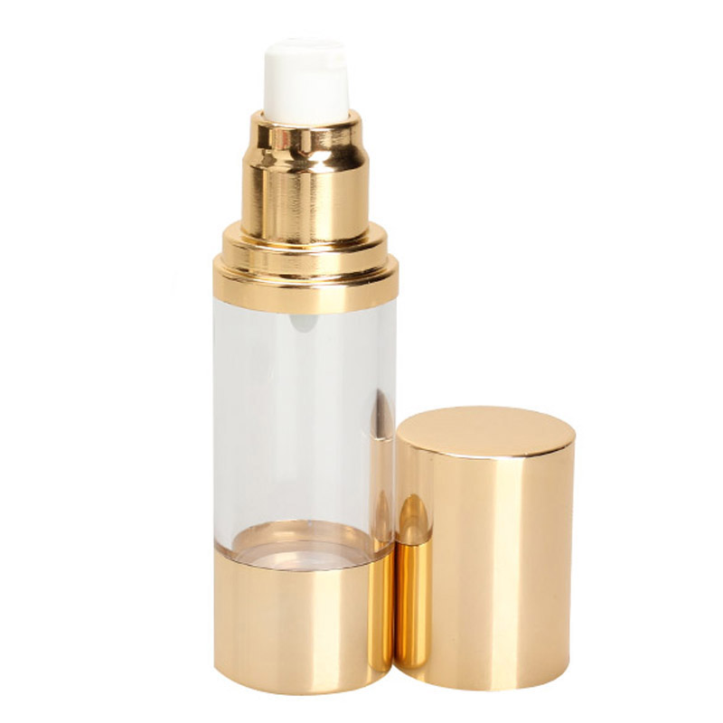T2N2 Fashion Perfume Vacuum Flask Pump 30ML Bottle Gold Cap for Essence Lotion Portable(China (Mainland))