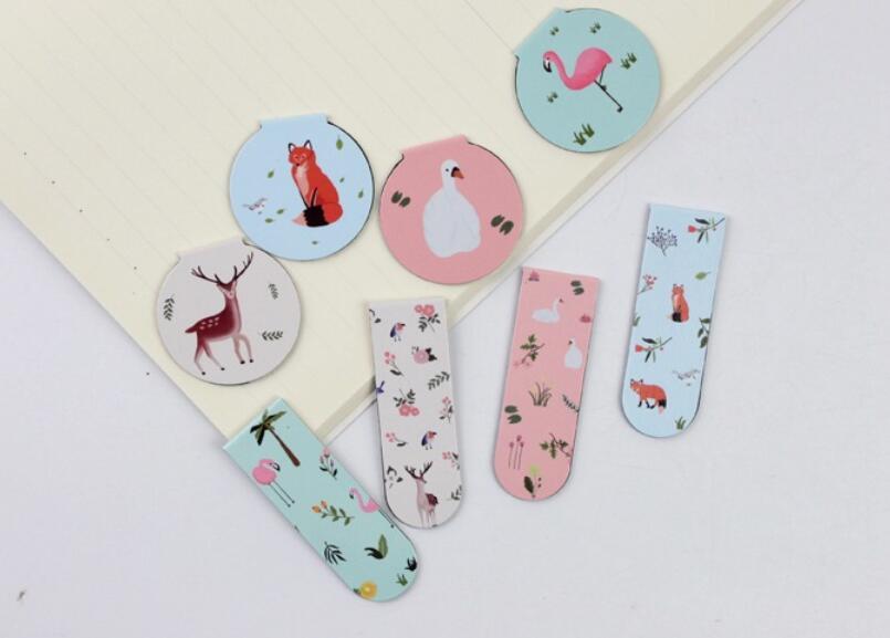 8Pcs/Set Forset Animals Cartoon Magnet Bookmark Paper Clip School Office Supply Escolar Papelaria Gift Stationery(China (Mainland))