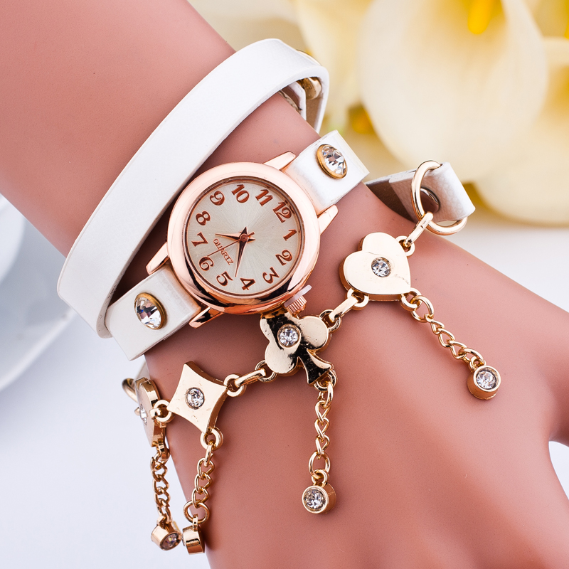 Fashion Women Watch Punk Style Golden Chain Pocker Drops Leather Wrap Quartz Dress Lady Casual Wristwatch - Her jewelry box ( Min. Order $7 store)