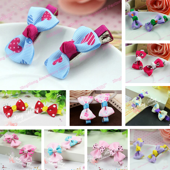 2014 Korean Fashion Cute Bowknot Hairpins Girls Mix Color Children Barrettes Baby Hair Clips Kids Accessories - Beautiful Life World store