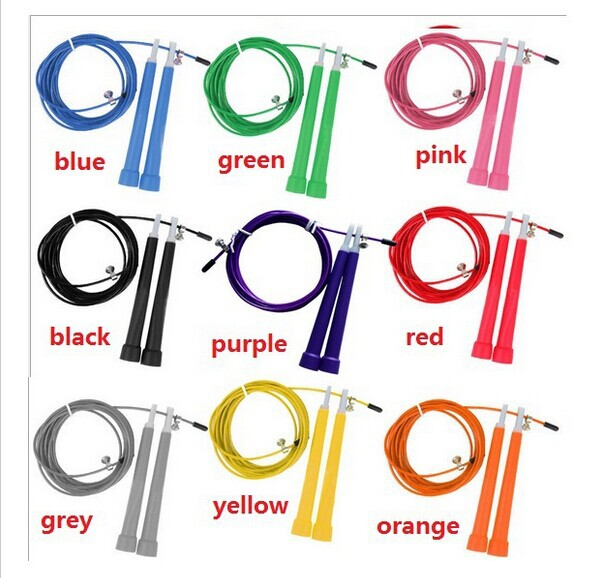 9 Colors Fitness Crossfit Skipping Ropes Speed Jump Rope Steel Wire Skipping Rope With Handle Sports Exercise 200 pcs free ship(China (Mainland))