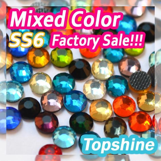ss6 Mixed Colors Hotfix Rhinestones 1.9mm-2.0mm DMC Round Flatback Strass 1440pcs Factory Sale Glitter For Wedding Decorations(China (Mainland))