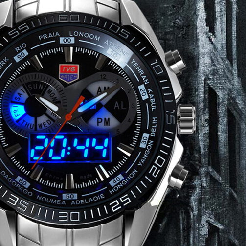 Hot TVG Stainless Steel Black Men's Clock Fashion Blue Binary LED Pointer Watch Mens 30AM Waterproof sport Watches - Focal Price store
