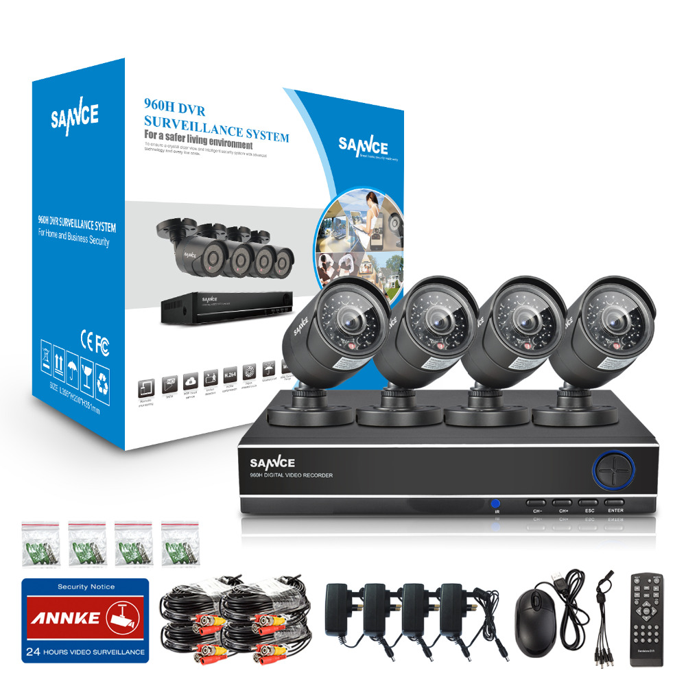 SANNCE 8CH HD 960H CCTV Camera Security System 4pcs 800TVL IR cut Outdoor Camera Home video Surveillance kits 8 Channel DVR set(China (Mainland))