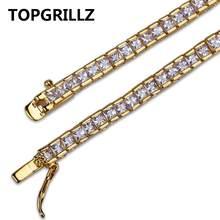 Lebar 4 MM Pria Wanita Pesona Tenis Gelang Perhiasan Penuh Es Keluar AAA + Bling Cubic Zirconia Hip Hop Emas warna Perak Perhiasan(China)