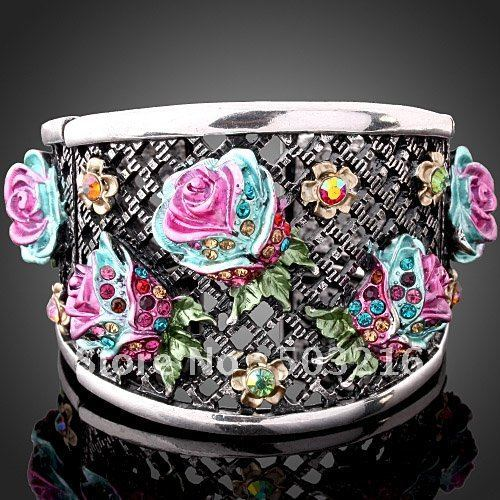 Zinc Alloy Rhodium Plated Crystal Women Jewelry Wholesale Fashion Enamel Pink Flower Bangle & Bracelets Free Shipping