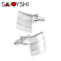 Customized Wedding Anniversary Cufflinks Laser Engraved Name Record Classic Personalized Cuff links for Men SAVOYSHI Jewelry