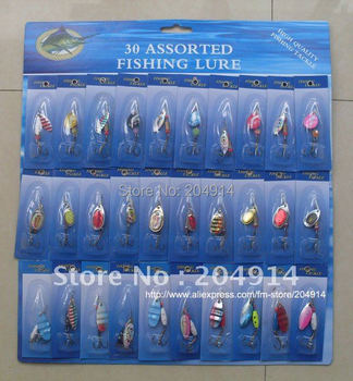 30pcs/lot Fishing spoon Spinner mixed  color Fishing Lure  Free shipping