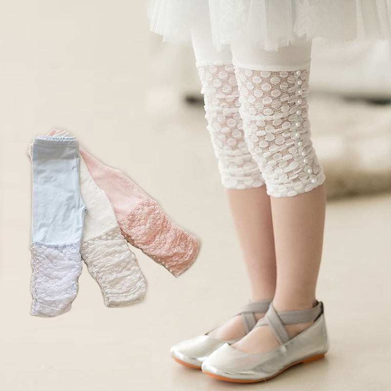 Free Shipping 2016 Summer Girls Leggings Pants Lace cotton Children Clothing Flower Girl Knee Pants(China (Mainland))