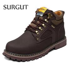 SURGUT Marca Súper Caliente del Invierno de Los Hombres de Cuero Hombres de Goma Resistente Al Agua Botas de Botas para la nieve Ocio Inglaterra Retro Zapatos de Los Hombres Grandes tamaño(China (Mainland))