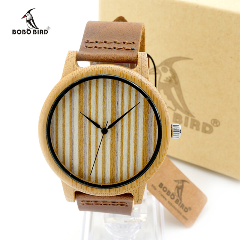 Japan Movement 2035 Natural Round Bamboo Watches With Genuine Cowhide Leather Wristwatch for Men and Women Wood Watches as Gifts<br><br>Aliexpress