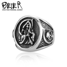 Grim Reaper Sons of Anarchy Ring For Men Stainless Steel Man's Biker Punk Ring Jewelry  BR8-193 US size(China (Mainland))