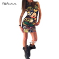 Tofashion 2016 summer new women mouse pattern print dress casual o neck sleeveless letters printed dresses