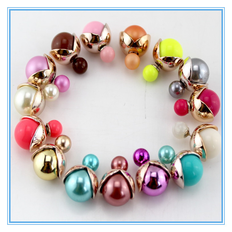 OS 2015 Fashion Stud Earrings Round Beads Metal Cover Double Side Wear Earring Jewelry Women Girl Earrings(China (Mainland))