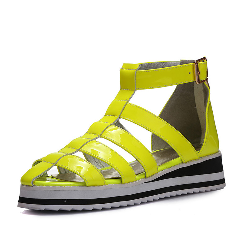 2016 Shoes Women Summer Ankle High Sandals Genuine Leather Fashion Gladiator sandals female sandals zapatos mujer Plus size34-43
