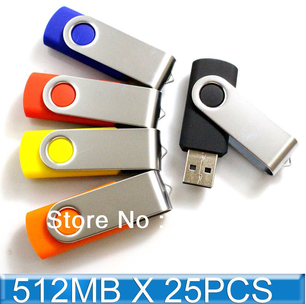 25PCS 512MB USB Drive Memory Flash Swivel thumb stick pendrive Genuine Capacity(China (Mainland))