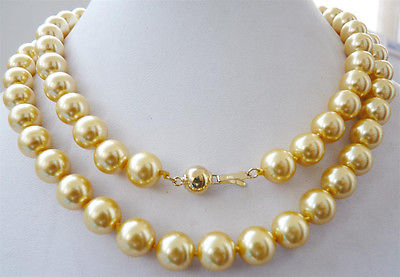 """hot& 10mm yellow South sea shell pearl necklace 34"""" 14K gold A+SA(China (Mainland))"""