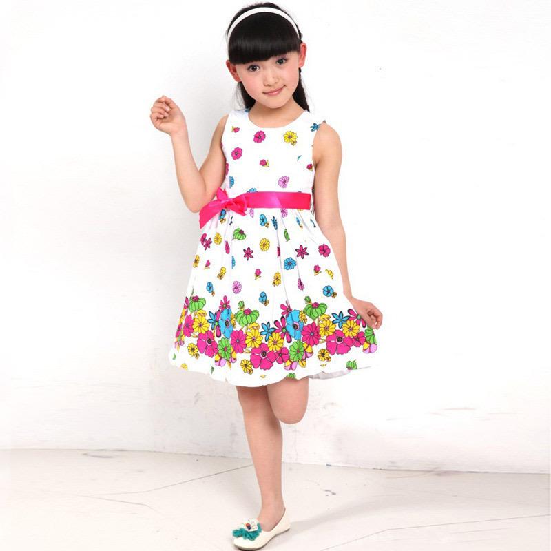 2015 Fashion Baby Girls Floral Dress Round-Neck Sleeveless Flower Printing Cute Summer Dresses Children Kids Princess Dress(China (Mainland))