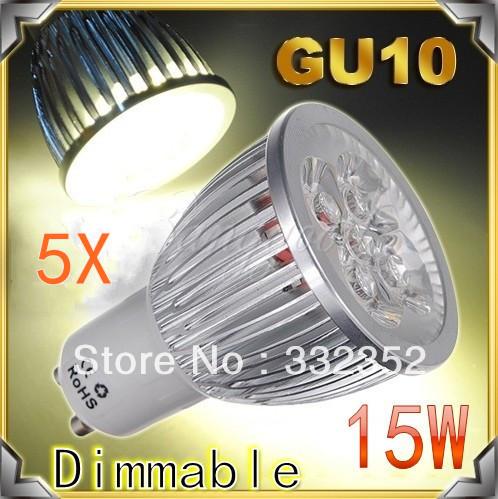 5X High power CREE GU10 5x3W 15W 85-265V E27 MR16 E14 B22 GU5.3 Dimmable LED Light lamp Bulb LED Downlight  Free shipping
