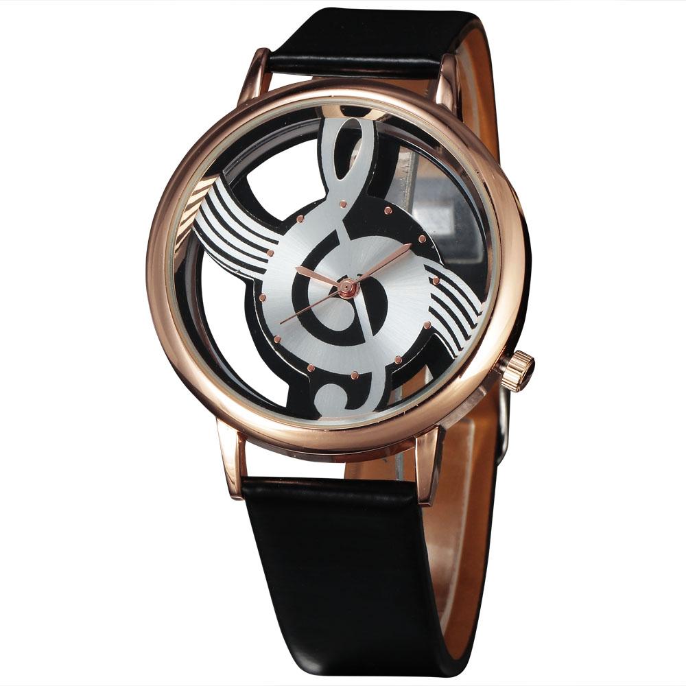 Relógio de Quartzo Pulseira de Couro Relógio de Pulso 2016 Luxo Top Mulheres Marca Vestido Casual Relógios Aço da Nota da Música Oco Dial Senhoras