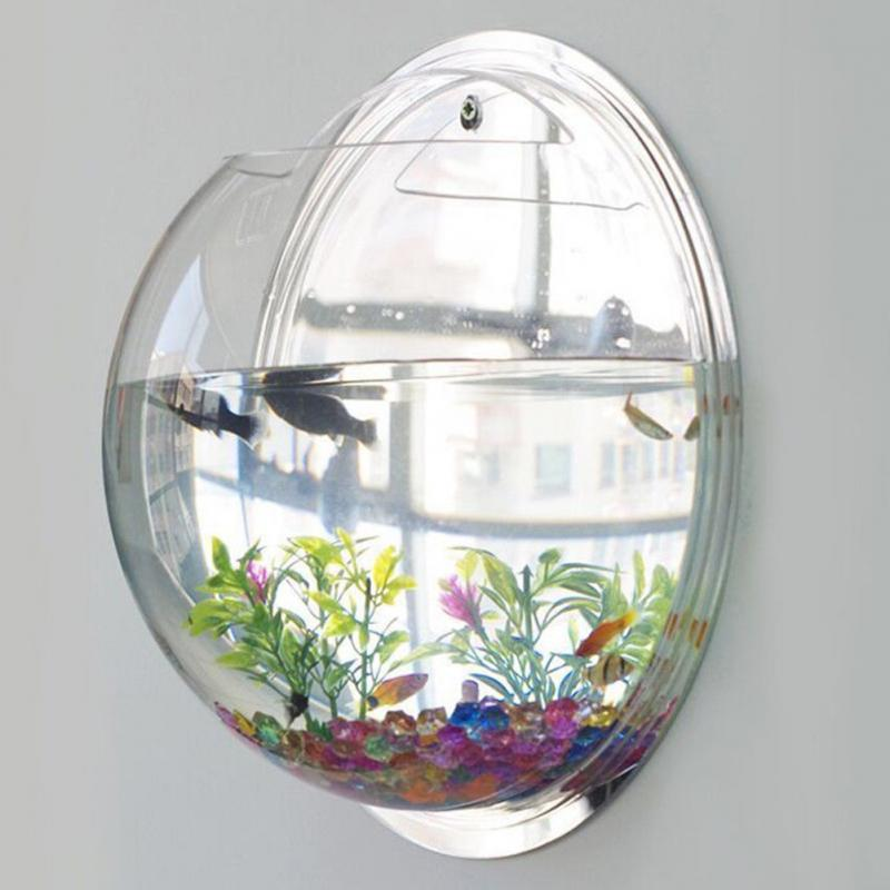 Creative Acrylic Hanging Wall Mount Fish Tank Bowl Vase